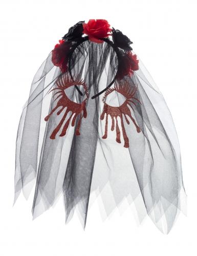 Arco para cabelo com rosas e véu pretos cara ensanguentada mulher-1