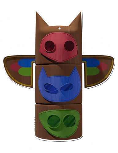 2 Decorações para parede de cartão Pj masks™ 30 cm-1