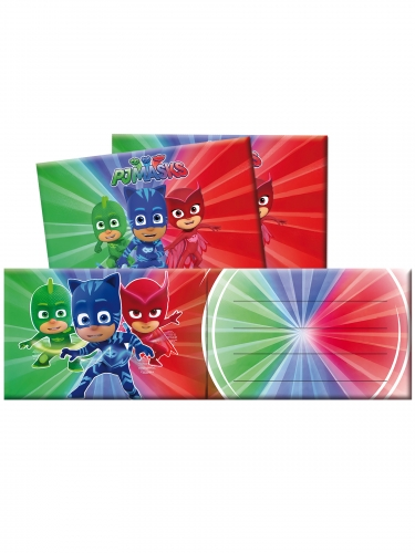 6 Convites com envelopes Pj Masks™