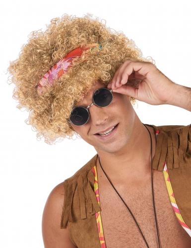 Peruca afro hippie loira adulto
