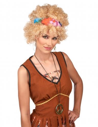 Peruca afro hippie loira adulto-1