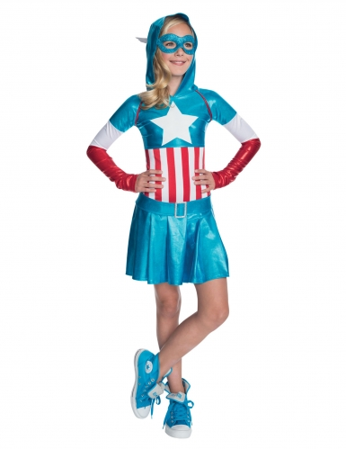 Disfarce metálico Captain America™ menina