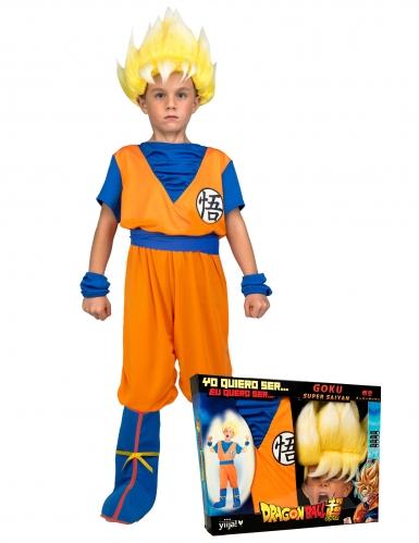 Coffret Disfarce Super Saiyan Goku Dragon Ball™ criança com peruca