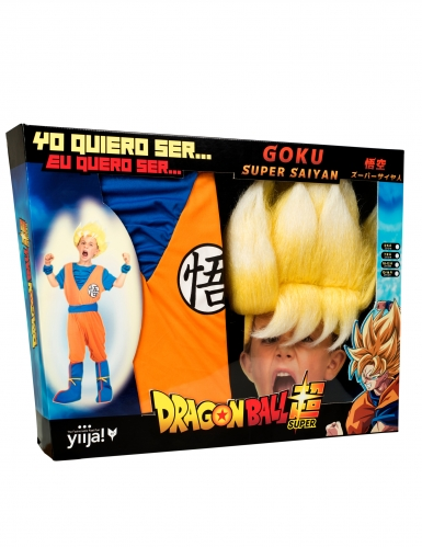 Coffret Disfarce Super Saiyan Goku Dragon Ball™ criança com peruca-3