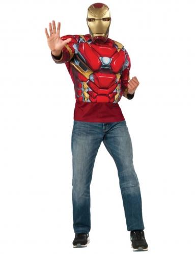 T-shirt com musculos e mascara Iron Man Capitain America Civil War™ adulto
