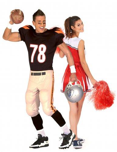 Disfarce de casal pompom girl e jogador de futebol americano
