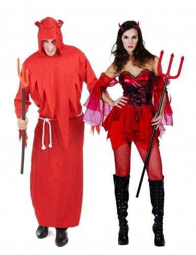 Disfarce de casal diabos adultos Halloween