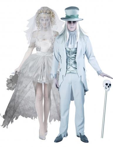 Disfarce de casal noivos fantasmas adulto Halloween