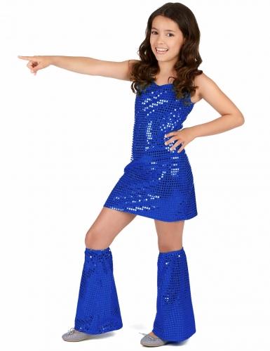 Disfarce menina Disco azul escuro com lantejoulas
