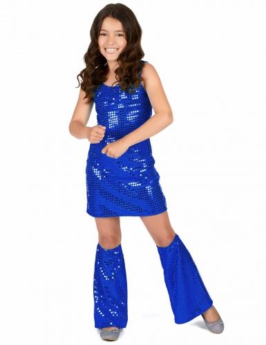 Disfarce menina Disco azul escuro com lantejoulas-1