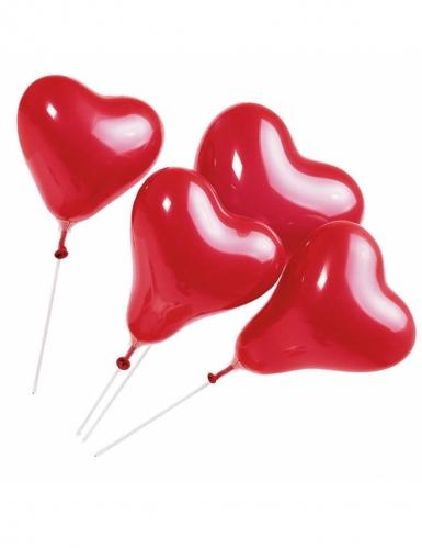 5 Balões coração vermelho com vareta 20 cm