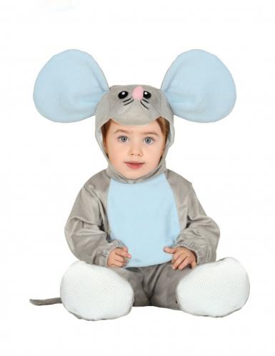 Disfarce macacão com capuche rato cinza bebê
