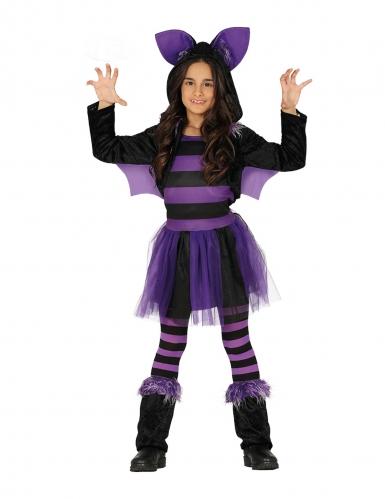 Disfarce morcego lilás com tutu menina