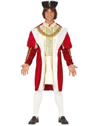 Disfarce rei medieval vermelho e dourado homem