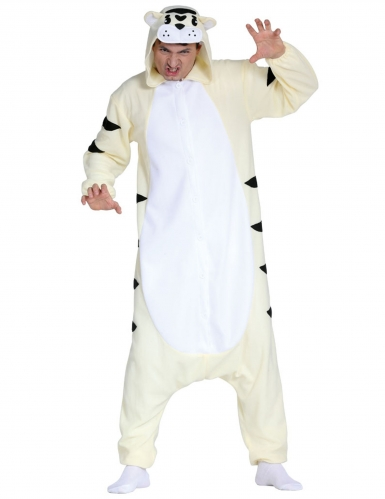 Disfarce macacão tigre branco adulto