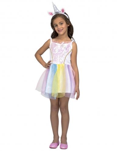 Disfarce vestido unicórnio arco-íris menina