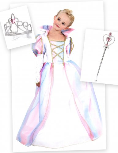 Pack disfarce princesa menina com coroa e varinha
