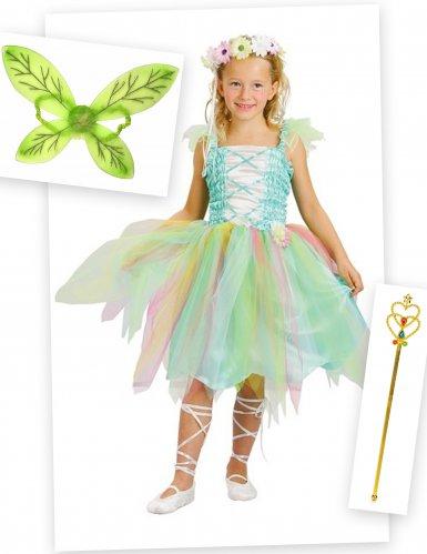 Pack disfarce fada verde menina com asas e varinha