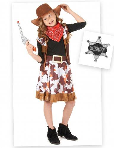 Pack disfarce cowgirl menina com acessórios