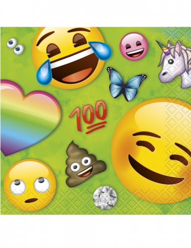 16 Guardanapos pequenos de papel Emoji Rainbow™ 25 x 25 cm