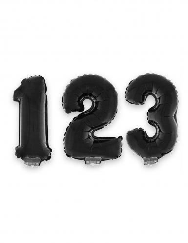 Balão alumínio número preto 40 cm