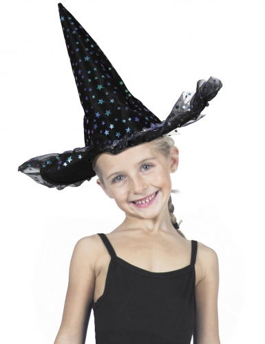 Chapéu de bruxa estrelas luxo criança