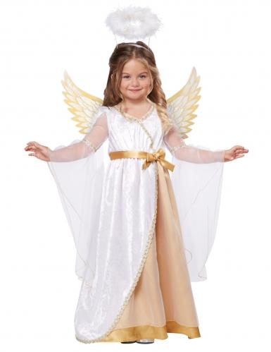 Disfarce pequeno anjo branco e dourado menina