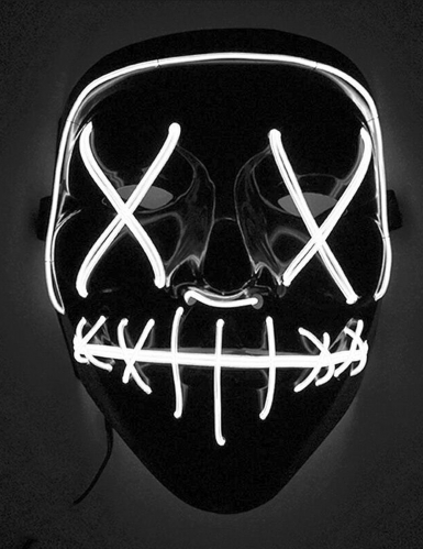 Máscara Led luminosa branca adulto