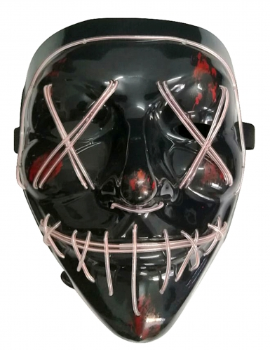Máscara Led luminosa branca adulto-1