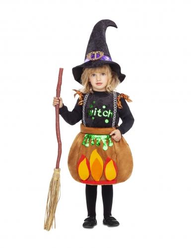 Disfarce pequena bruxa marmita menina