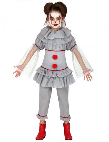 Disfarce palhaço assassino cinzento menina