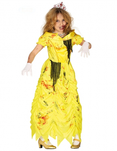 Disfarce princesa zombie amarelo menina