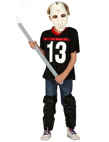 Disfarce assassino com máscara de hóquei menino