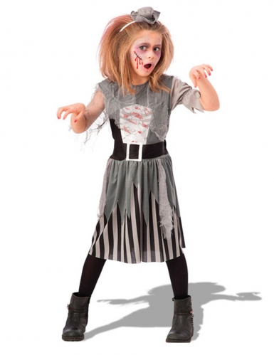 Disfarce zombie pirata cinzento menina
