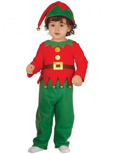 Disfarce clássico pequeno duende de Natal bebé