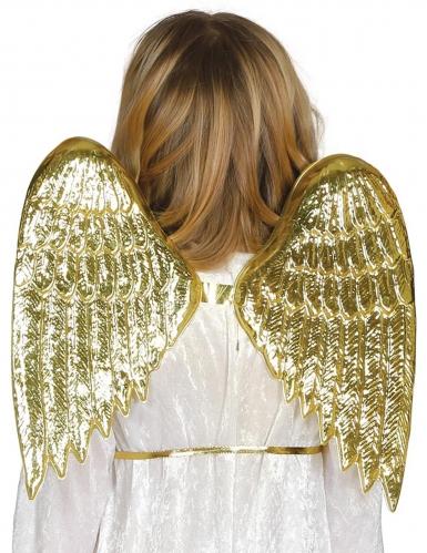 Asas de anjo douradas criança