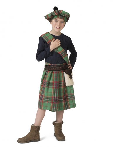 Disfarce escocês verde criança