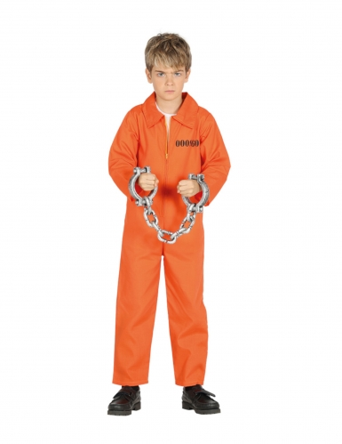 Disfarce prisioneiro cor de laranja menino