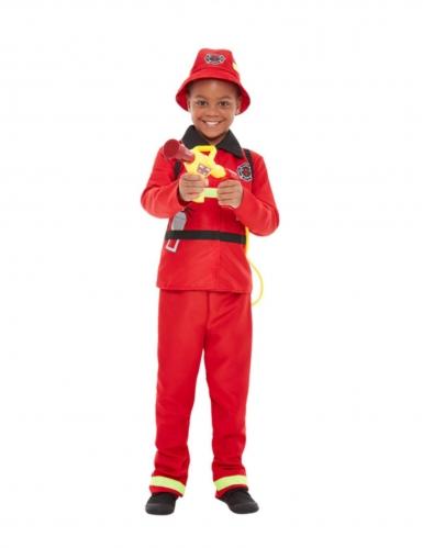 Disfarce bombeiro vermelho menino