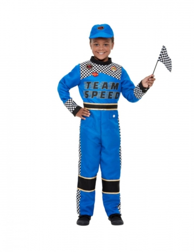 Disfarce de piloto de formula 1 azul menino