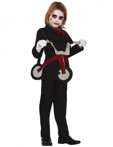 Disfarce boneca sob triciclo criança