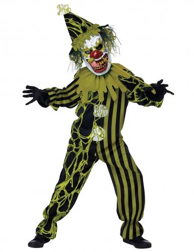 Disfarce palhaço terrível verde criança