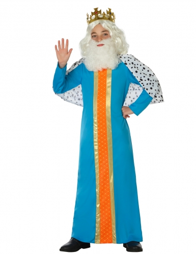 Disfarce rei mago azul criança