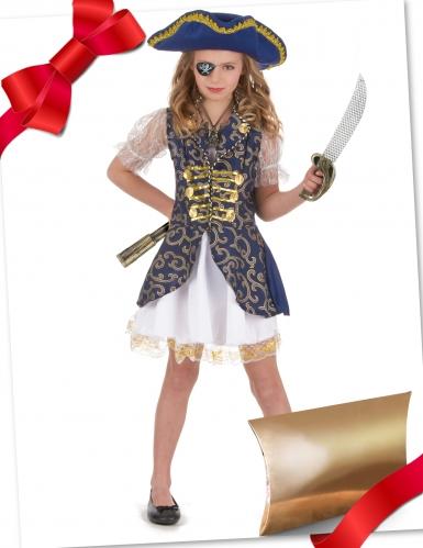 Caixa de presente disfarce pirata azul com acessórios menina