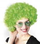 Peruca afro verde fluorescente adulto