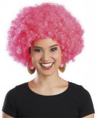 Peruca cor-de-rosa fluorescente afro disco adulto