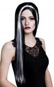 Peruca de bruxa preta e branca mulher Halloween