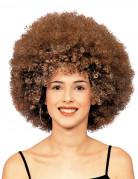 Peruca afro disco castanha adulto
