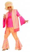 Disfarce de hippie cor-de-rosa para homem