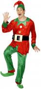 Disfarce de duende de Natal para homem